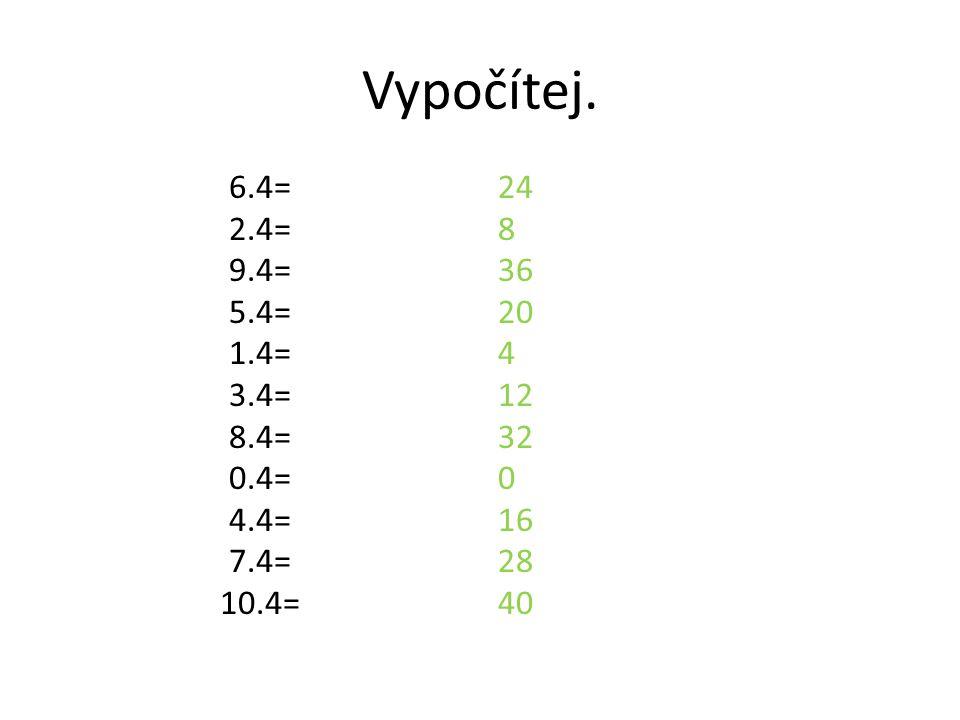Vypočítej. 6.4= 2.4= 9.4= 5.4= 1.4= 3.4= 8.4= 0.4= 4.4= 7.4= 10.4= 24 8 36 20 4 12 32 0 16 28 40