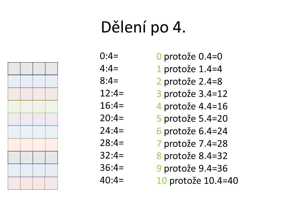 Dělení po 4. 0:4= 4:4= 8:4= 12:4= 16:4= 20:4= 24:4= 28:4= 32:4= 36:4= 40:4= 0 protože 0.4=0 1 protože 1.4=4 2 protože 2.4=8 3 protože 3.4=12 4 protože