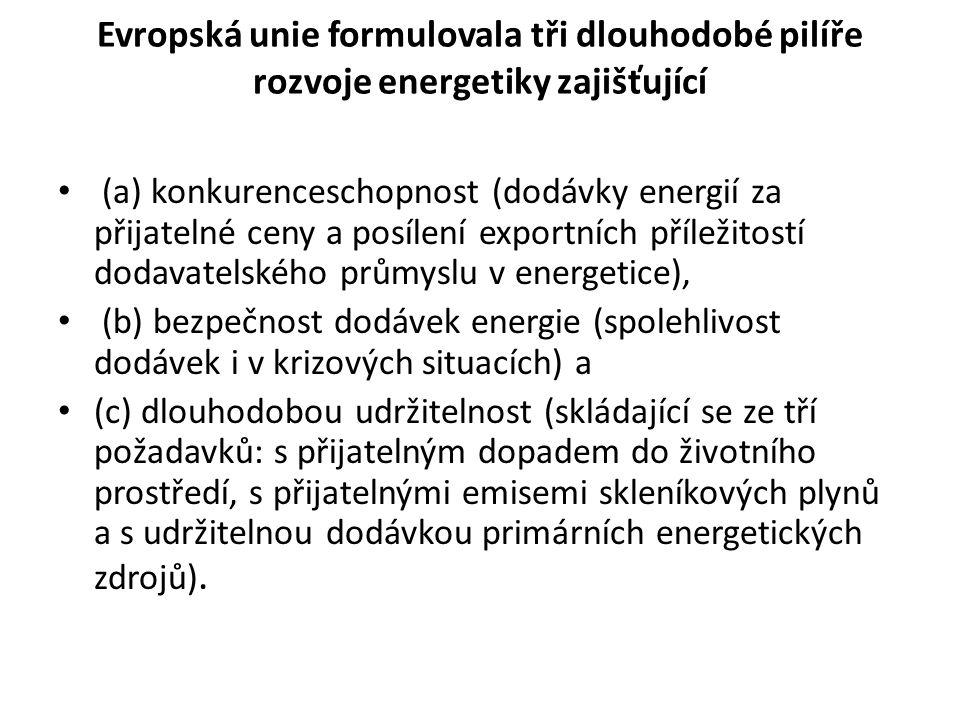 Evropská unie formulovala tři dlouhodobé pilíře rozvoje energetiky zajišťující (a) konkurenceschopnost (dodávky energií za přijatelné ceny a posílení exportních příležitostí dodavatelského průmyslu v energetice), (b) bezpečnost dodávek energie (spolehlivost dodávek i v krizových situacích) a (c) dlouhodobou udržitelnost (skládající se ze tří požadavků: s přijatelným dopadem do životního prostředí, s přijatelnými emisemi skleníkových plynů a s udržitelnou dodávkou primárních energetických zdrojů).