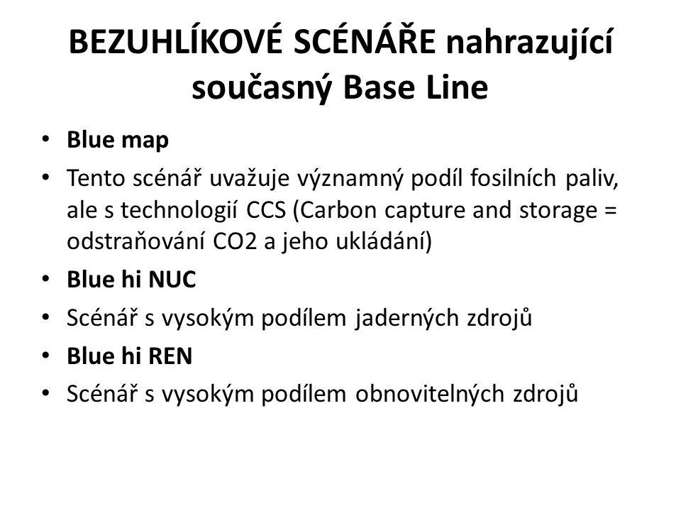 BEZUHLÍKOVÉ SCÉNÁŘE nahrazující současný Base Line Blue map Tento scénář uvažuje významný podíl fosilních paliv, ale s technologií CCS (Carbon capture and storage = odstraňování CO2 a jeho ukládání) Blue hi NUC Scénář s vysokým podílem jaderných zdrojů Blue hi REN Scénář s vysokým podílem obnovitelných zdrojů