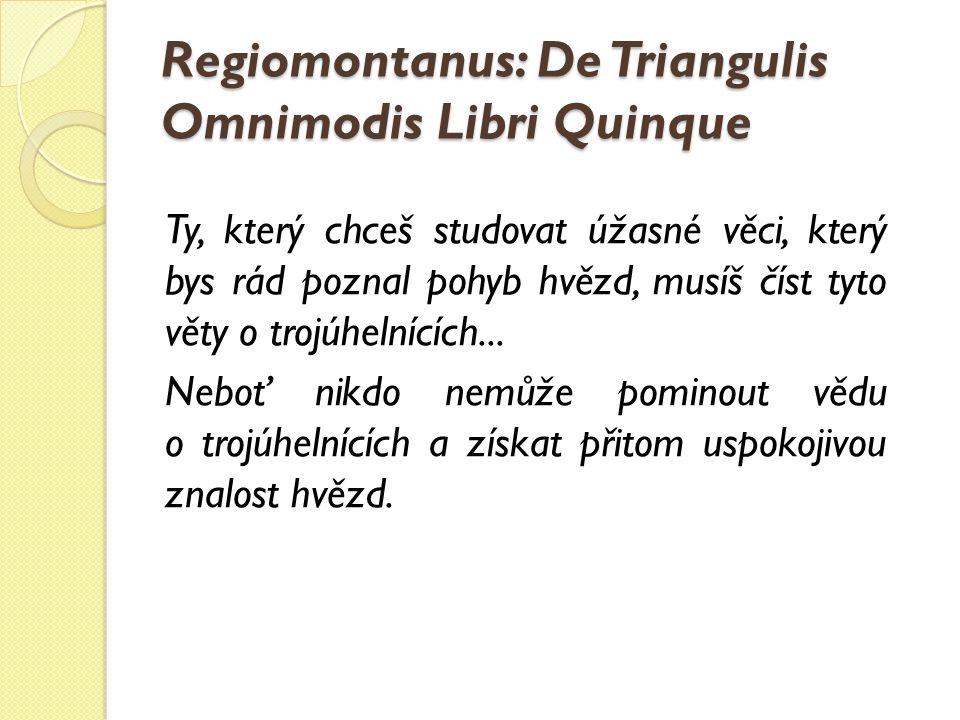 Regiomontanus: De Triangulis Omnimodis Libri Quinque Ty, který chceš studovat úžasné věci, který bys rád poznal pohyb hvězd, musíš číst tyto věty o tr