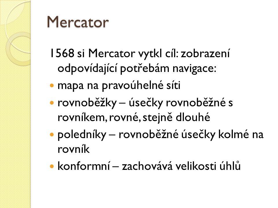 Mercator 1568 si Mercator vytkl cíl: zobrazení odpovídající potřebám navigace: mapa na pravoúhelné síti rovnoběžky – úsečky rovnoběžné s rovníkem, rov