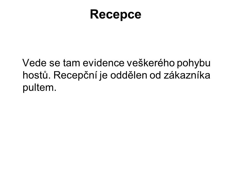 Recepce Vede se tam evidence veškerého pohybu hostů. Recepční je oddělen od zákazníka pultem.