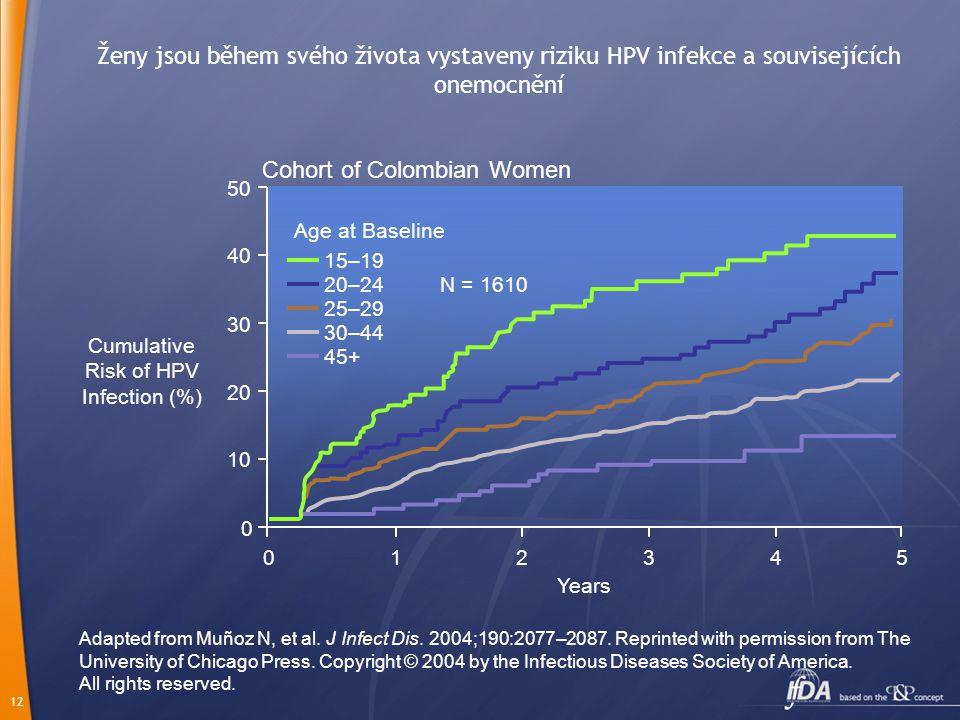 12 Ženy jsou během svého života vystaveny riziku HPV infekce a souvisejících onemocnění Cumulative Risk of HPV Infection (%) Adapted from Muñoz N, et