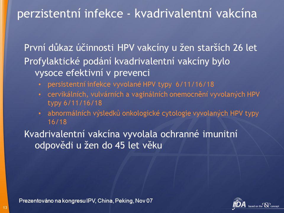13 perzistentní infekce - kvadrivalentní vakcína První důkaz účinnosti HPV vakcíny u žen starších 26 let Profylaktické podání kvadrivalentní vakcíny b