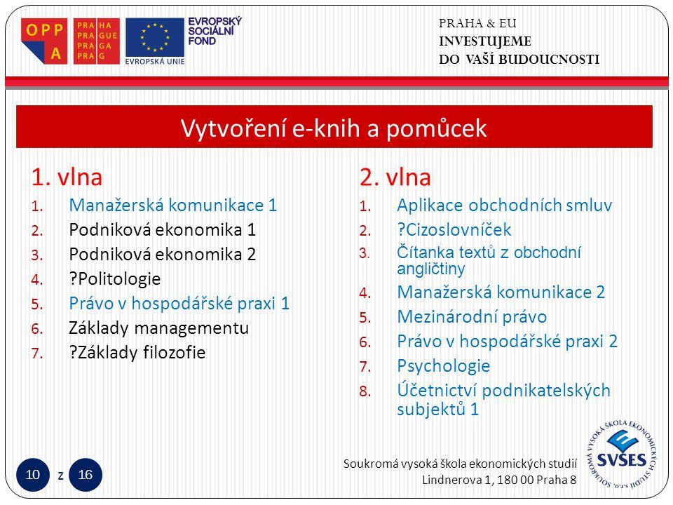 PRAHA & EU INVESTUJEME DO VAŠÍ BUDOUCNOSTI Soukromá vysoká škola ekonomických studií Lindnerova 1, 180 00 Praha 8 1016 z Klepnutím lze upravit styl předlohy nadpisů.