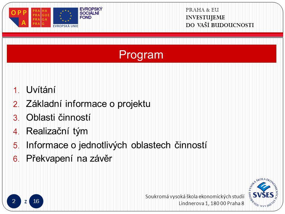 PRAHA & EU INVESTUJEME DO VAŠÍ BUDOUCNOSTI Soukromá vysoká škola ekonomických studií Lindnerova 1, 180 00 Praha 8 216 z Klepnutím lze upravit styl předlohy nadpisů.