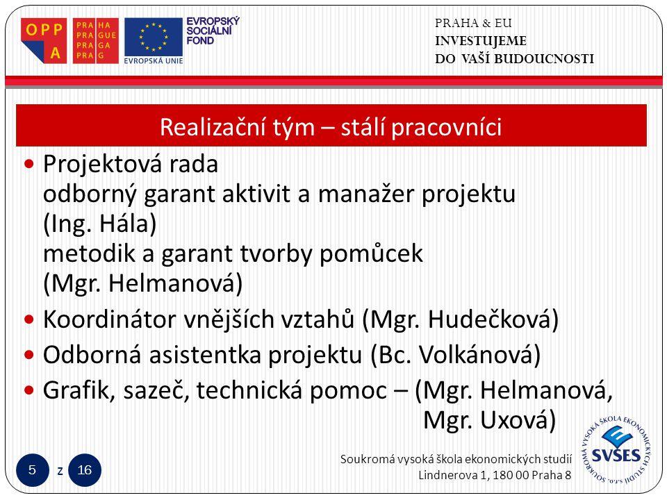PRAHA & EU INVESTUJEME DO VAŠÍ BUDOUCNOSTI Soukromá vysoká škola ekonomických studií Lindnerova 1, 180 00 Praha 8 516 z Klepnutím lze upravit styl předlohy nadpisů.