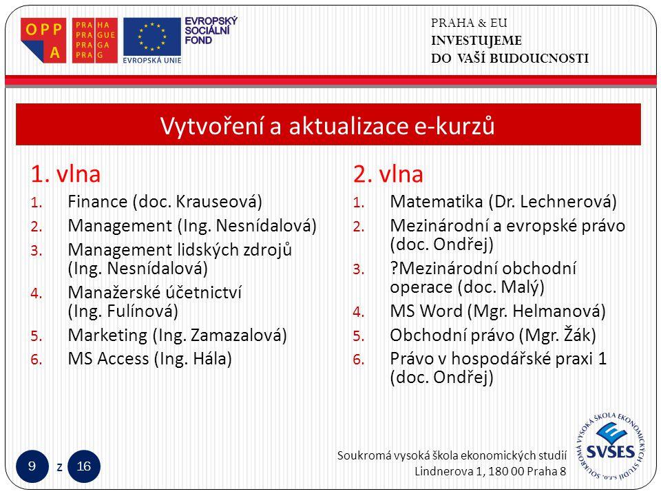 PRAHA & EU INVESTUJEME DO VAŠÍ BUDOUCNOSTI Soukromá vysoká škola ekonomických studií Lindnerova 1, 180 00 Praha 8 916 z Klepnutím lze upravit styl předlohy nadpisů.