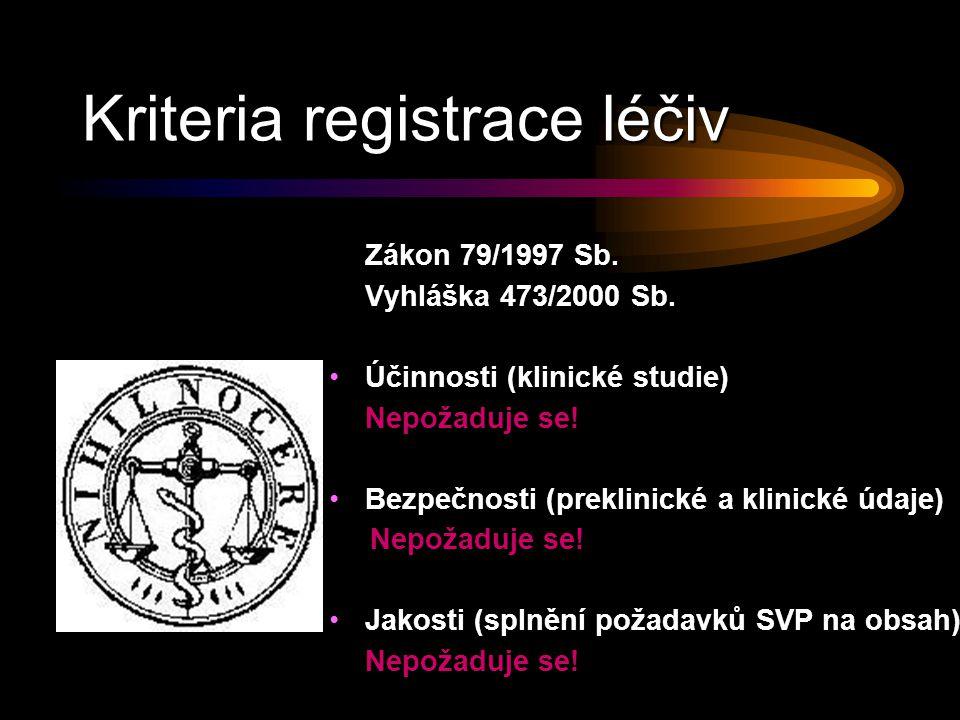 Kriteria registrace léčiv Zákon 79/1997 Sb.Vyhláška 473/2000 Sb.