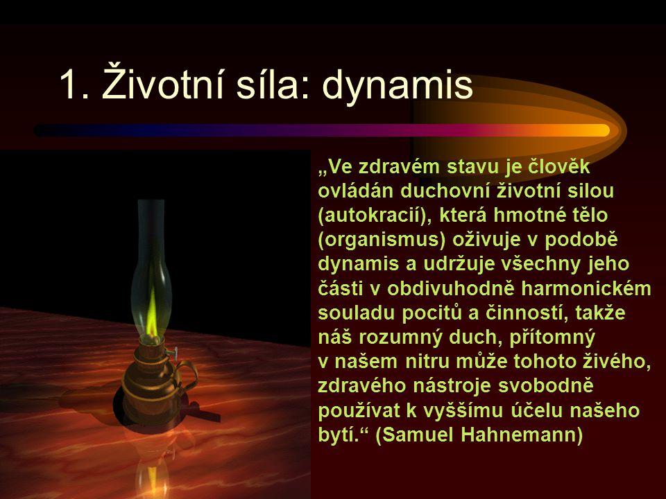 """1. Životní síla: dynamis """"Ve zdravém stavu je člověk ovládán duchovní životní silou (autokracií), která hmotné tělo (organismus) oživuje v podobě dyna"""