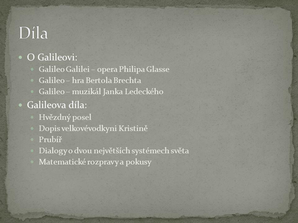 O Galileovi: Galileo Galilei – opera Philipa Glasse Galileo – hra Bertola Brechta Galileo – muzikál Janka Ledeckého Galileova díla: Hvězdný posel Dopis velkovévodkyni Kristině Prubíř Dialogy o dvou největších systémech světa Matematické rozpravy a pokusy