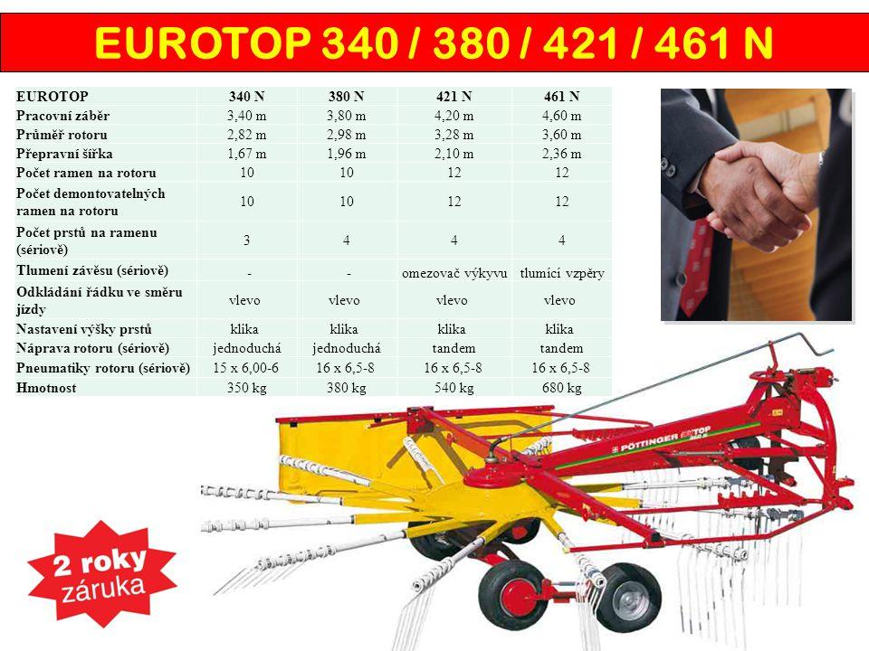 EUROTOP 340 / 380 / 421 / 461 N EUROTOP340 N380 N421 N461 N Pracovní záběr3,40 m3,80 m4,20 m4,60 m Průměř rotoru2,82 m2,98 m3,28 m3,60 m Přepravní šíř