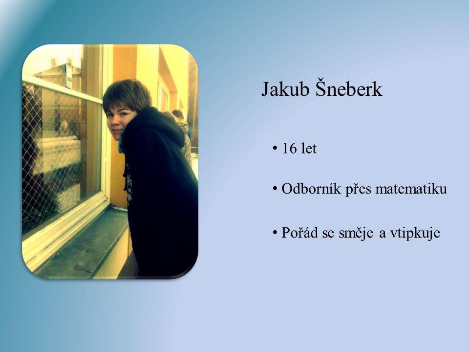 Jakub Šneberk 16 let Odborník přes matematiku Pořád se směje a vtipkuje