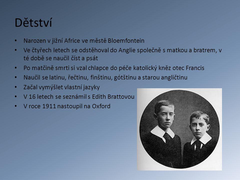 Dětství Narozen v jižní Africe ve městě Bloemfontein Ve čtyřech letech se odstěhoval do Anglie společně s matkou a bratrem, v té době se naučil číst a psát Po matčině smrti si vzal chlapce do péče katolický kněz otec Francis Naučil se latinu, řečtinu, finštinu, gótštinu a starou angličtinu Začal vymýšlet vlastní jazyky V 16 letech se seznámil s Edith Brattovou V roce 1911 nastoupil na Oxford