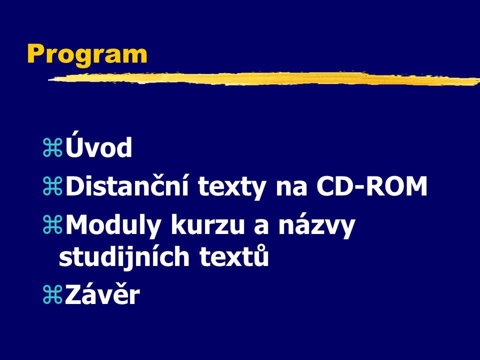 Program zÚvod zDistanční texty na CD-ROM zModuly kurzu a názvy studijních textů zZávěr