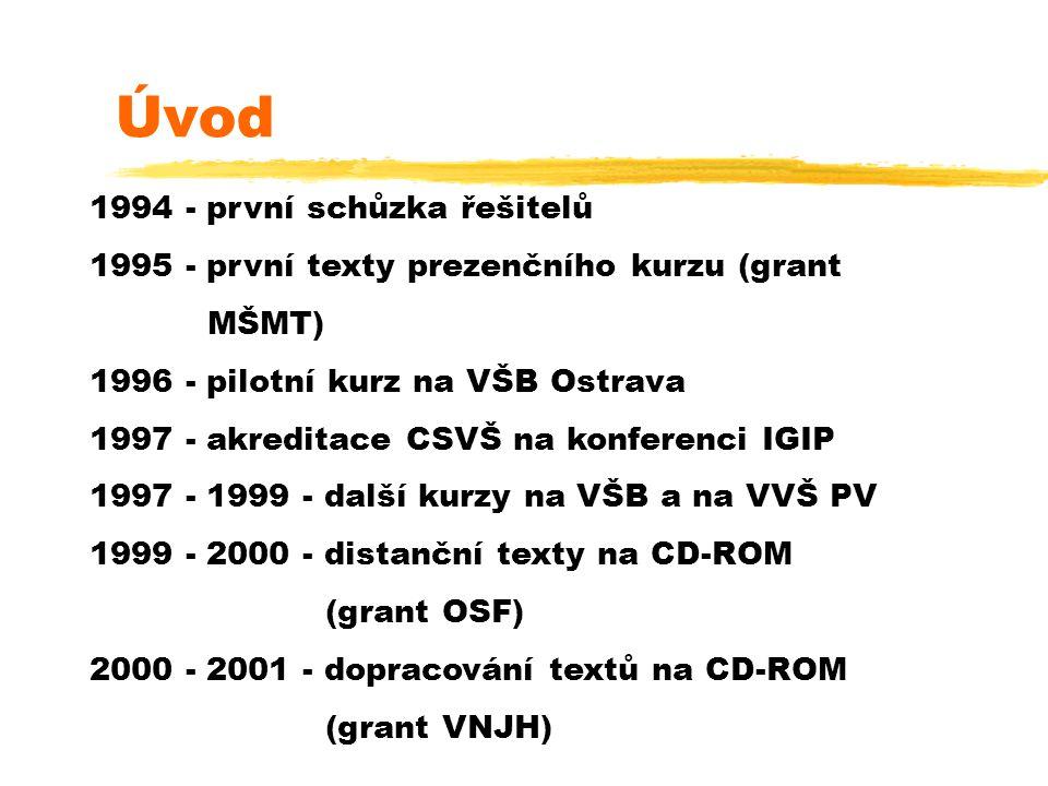 1994 - první schůzka řešitelů 1995 - první texty prezenčního kurzu (grant MŠMT) 1996 - pilotní kurz na VŠB Ostrava 1997 - akreditace CSVŠ na konferenci IGIP 1997 - 1999 - další kurzy na VŠB a na VVŠ PV 1999 - 2000 - distanční texty na CD-ROM (grant OSF) 2000 - 2001 - dopracování textů na CD-ROM (grant VNJH) Úvod