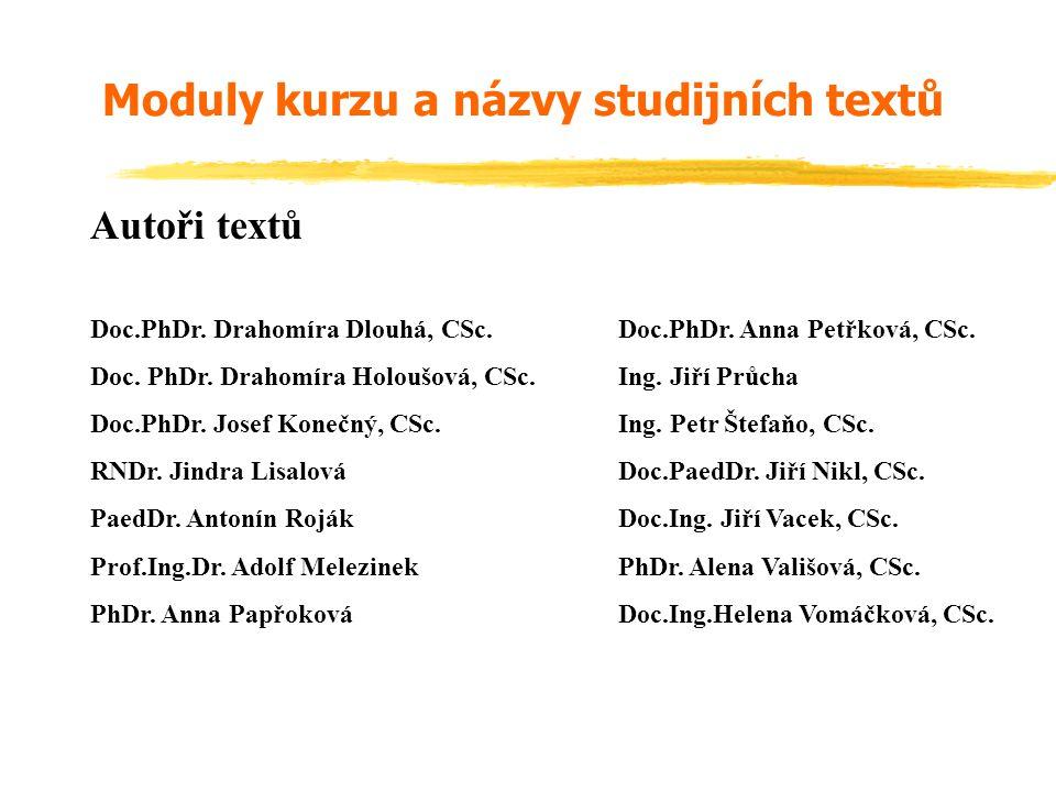 Autoři textů Doc.PhDr.Drahomíra Dlouhá, CSc.Doc.PhDr.