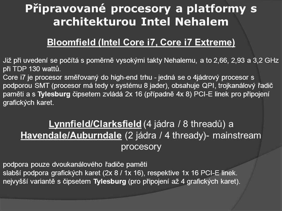 Připravované procesory a platformy s architekturou Intel Nehalem Bloomfield (Intel Core i7, Core i7 Extreme) Již při uvedení se počítá s poměrně vysokými takty Nehalemu, a to 2,66, 2,93 a 3,2 GHz při TDP 130 wattů.