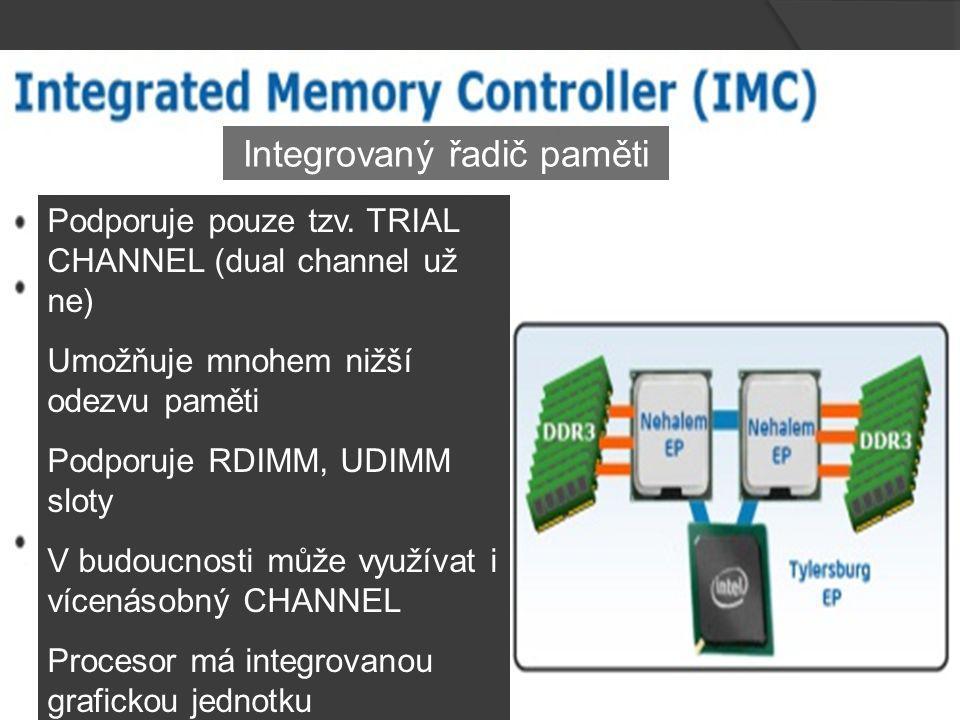 Integrovaný řadič paměti Podporuje pouze tzv.