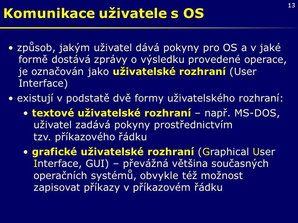 13 Komunikace uživatele s OS způsob, jakým uživatel dává pokyny pro OS a v jaké formě dostává zprávy o výsledku provedené operace, je označován jako u