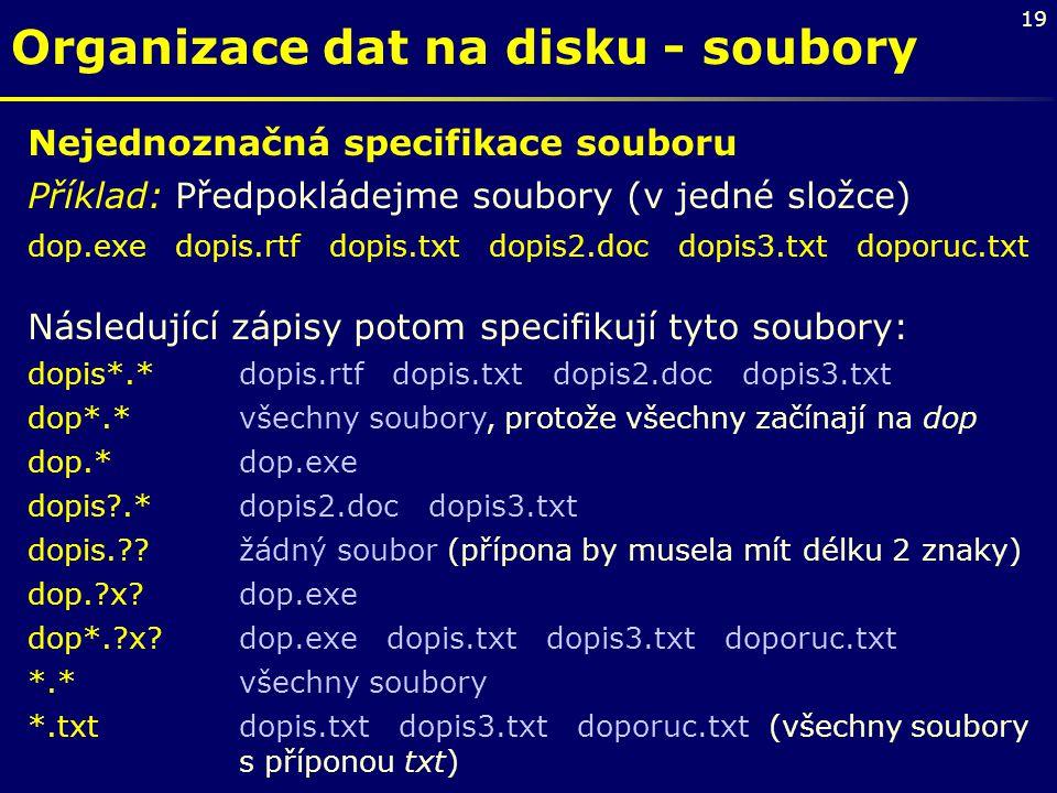 19 Organizace dat na disku - soubory Nejednoznačná specifikace souboru Příklad: Předpokládejme soubory (v jedné složce) dop.exe dopis.rtf dopis.txt do
