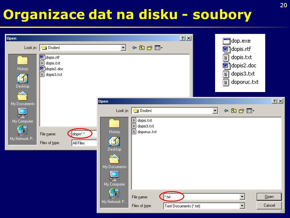 20 Organizace dat na disku - soubory