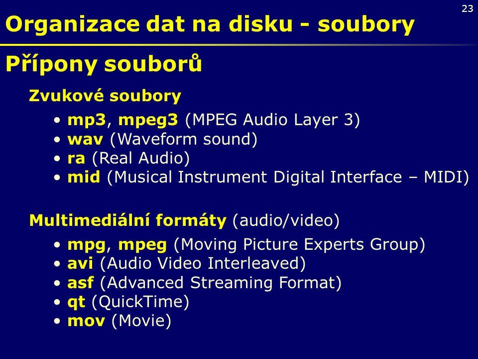23 Organizace dat na disku - soubory Přípony souborů Zvukové soubory mp3, mpeg3 (MPEG Audio Layer 3) wav (Waveform sound) ra (Real Audio) mid (Musical
