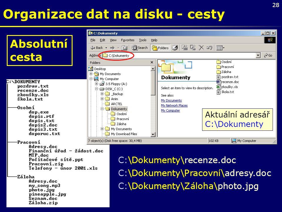 28 Organizace dat na disku - cesty Absolutní cesta C:\Dokumenty\recenze.doc C:\Dokumenty\Pracovní\adresy.doc C:\Dokumenty\Záloha\photo.jpg Aktuální ad