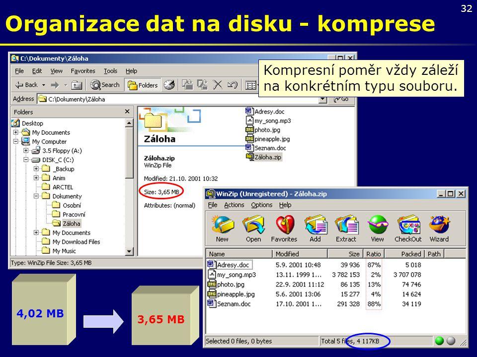 32 4,02 MB 3,65 MB Kompresní poměr vždy záleží na konkrétním typu souboru. Organizace dat na disku - komprese