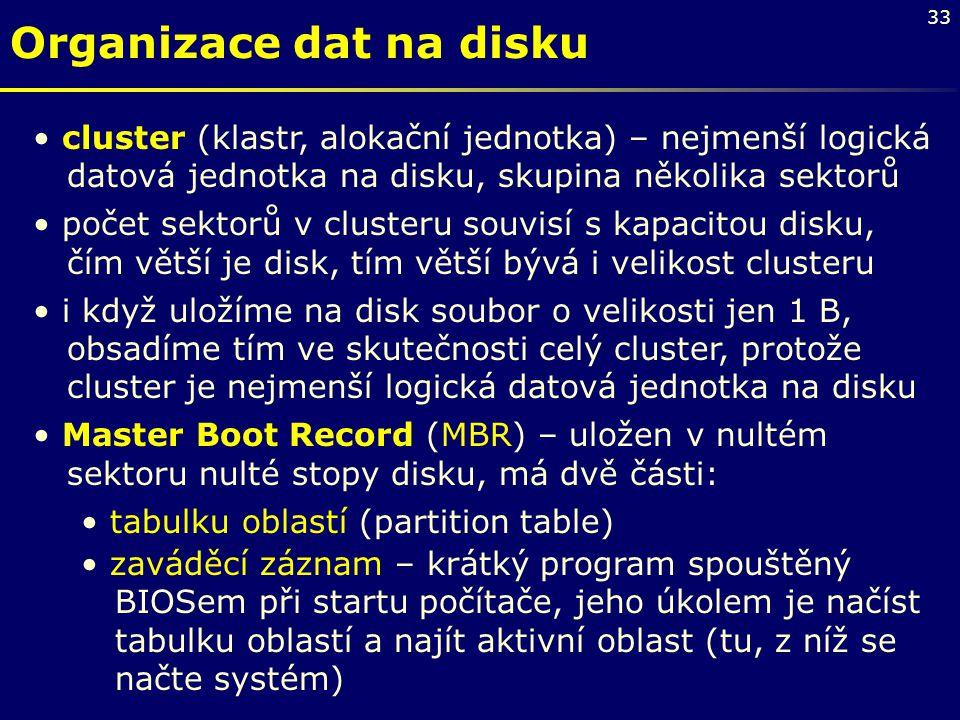 33 Organizace dat na disku cluster (klastr, alokační jednotka) – nejmenší logická datová jednotka na disku, skupina několika sektorů počet sektorů v c