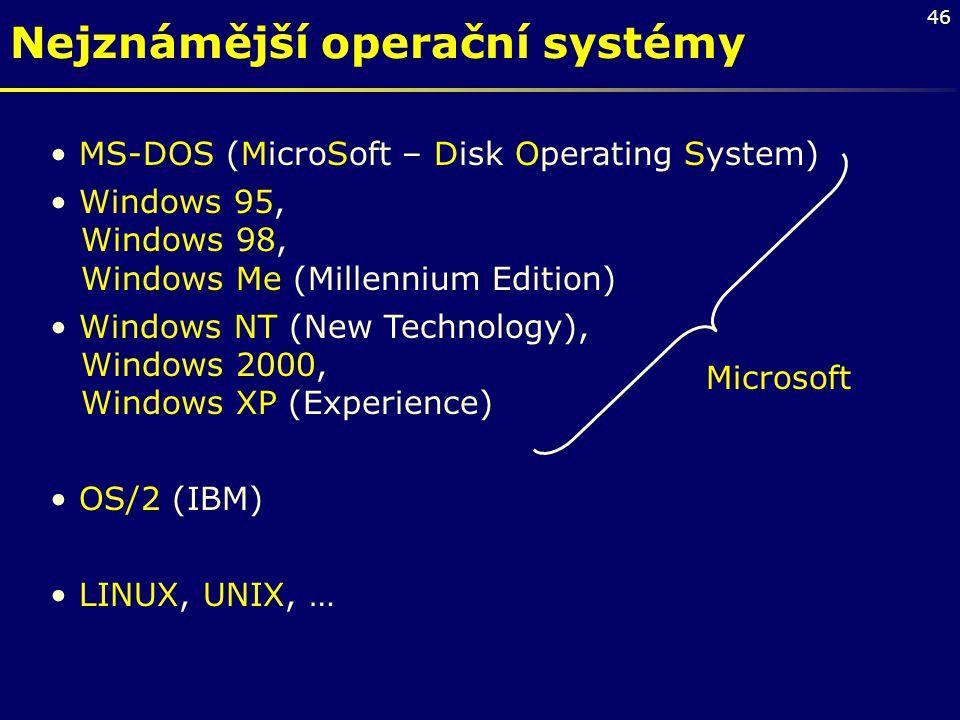 46 Nejznámější operační systémy MS-DOS (MicroSoft – Disk Operating System) Windows 95, Windows 98, Windows Me (Millennium Edition) Windows NT (New Tec