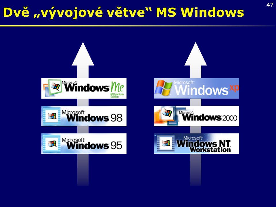 """47 Dvě """"vývojové větve"""" MS Windows"""