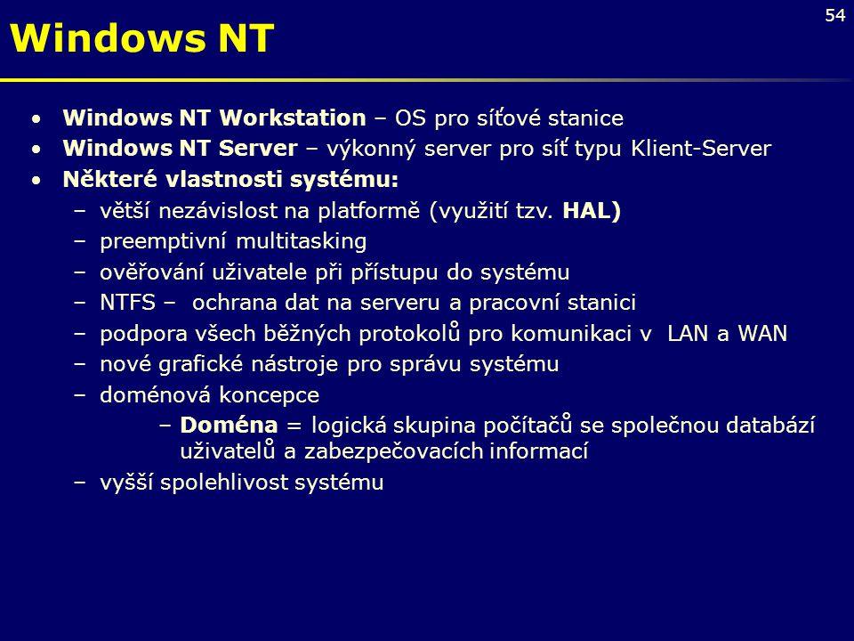 54 Windows NT Workstation – OS pro síťové stanice Windows NT Server – výkonný server pro síť typu Klient-Server Některé vlastnosti systému: –větší nez