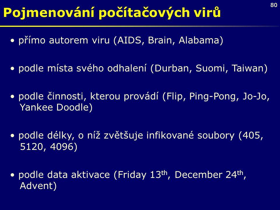 80 Pojmenování počítačových virů přímo autorem viru (AIDS, Brain, Alabama) podle místa svého odhalení (Durban, Suomi, Taiwan) podle činnosti, kterou p