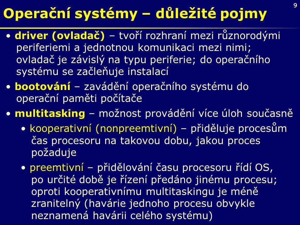 9 Operační systémy – důležité pojmy driver (ovladač) – tvoří rozhraní mezi různorodými periferiemi a jednotnou komunikaci mezi nimi; ovladač je závisl