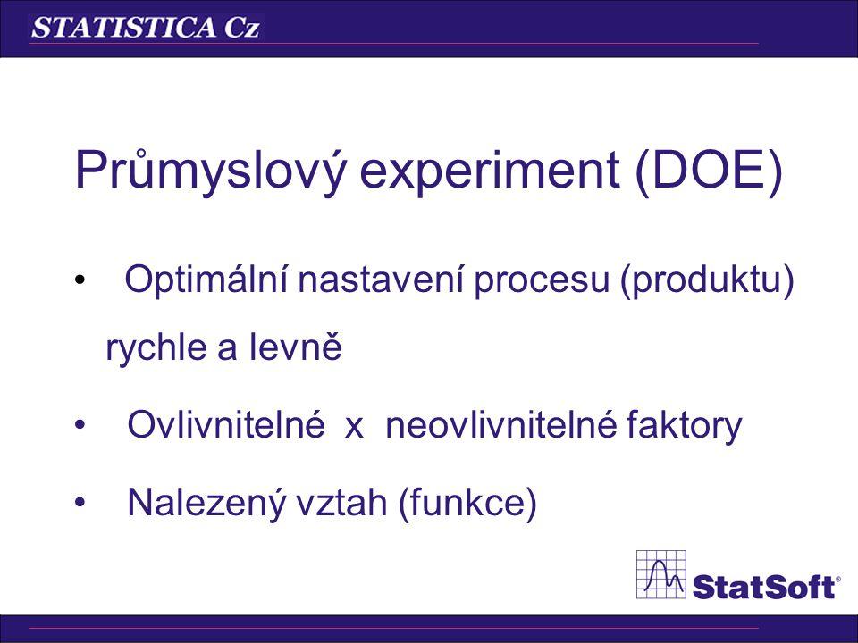 Průmyslový experiment (DOE) Návrh experimentu –Screening design (výběr faktorů), 2 (k-p), 3 (k-p), latinské čtverce, směsi, omezené plochy, … Analýza experimentu –Nalezení důležitých faktorů, nastavení na optimum