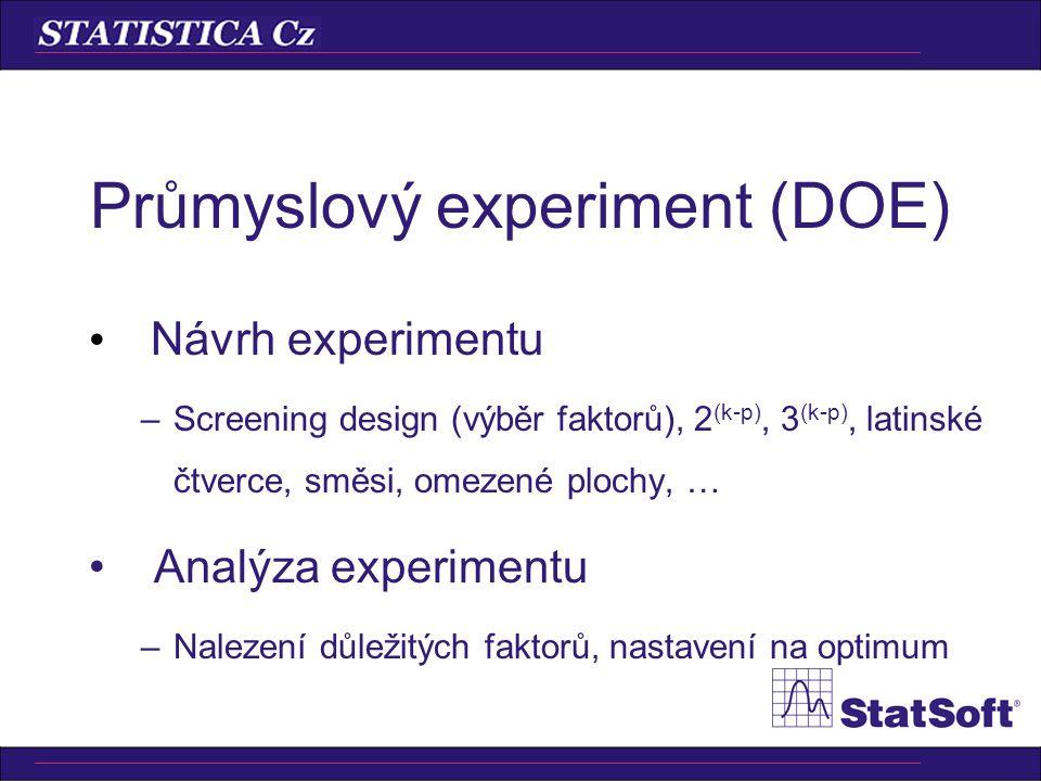 Průmyslový experiment (DOE) Návrh experimentu –Screening design (výběr faktorů), 2 (k-p), 3 (k-p), latinské čtverce, směsi, omezené plochy, … Analýza