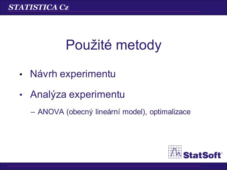 Softwarové nástroje Obecné –ANOVA, obecný lineární model, optimalizace Specializované –DOE
