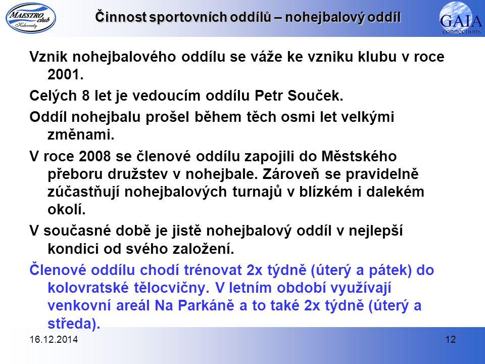 16.12.201412 Činnost sportovních oddílů – nohejbalový oddíl Vznik nohejbalového oddílu se váže ke vzniku klubu v roce 2001.