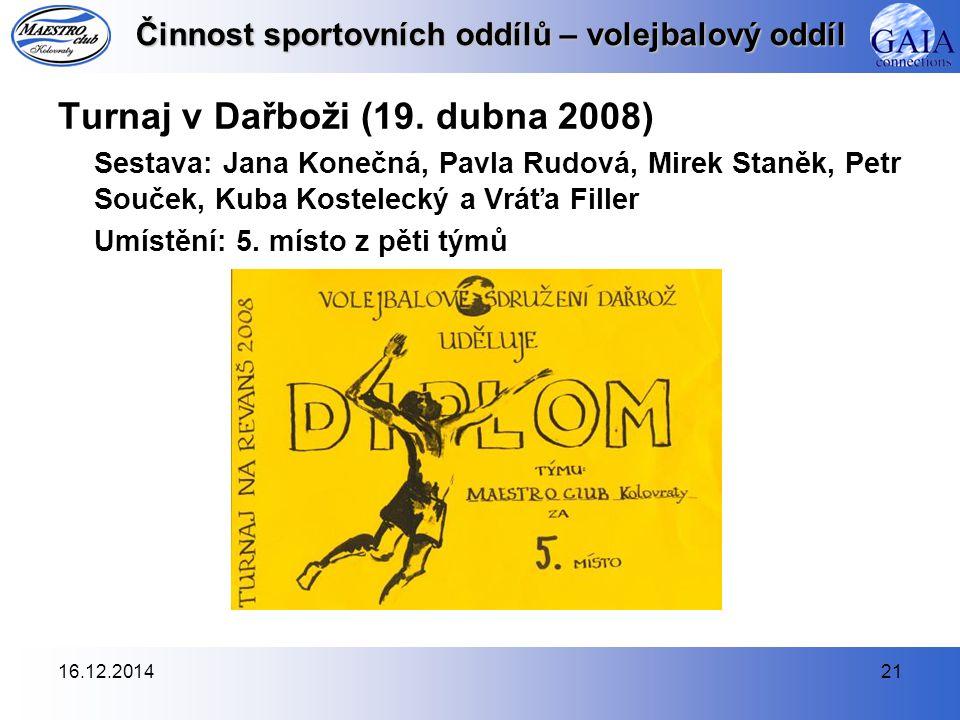 16.12.201421 Činnost sportovních oddílů – volejbalový oddíl Turnaj v Dařboži (19.