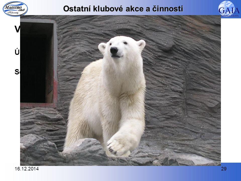 16.12.201429 Ostatní klubové akce a činnosti Výlet za našimi svěřenci do pražské Zoo (20.