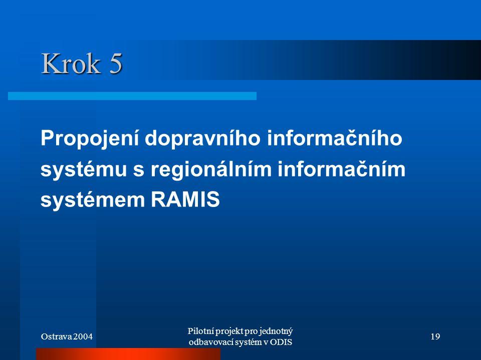 Ostrava 2004 Pilotní projekt pro jednotný odbavovací systém v ODIS 19 Krok 5 Propojení dopravního informačního systému s regionálním informačním systé