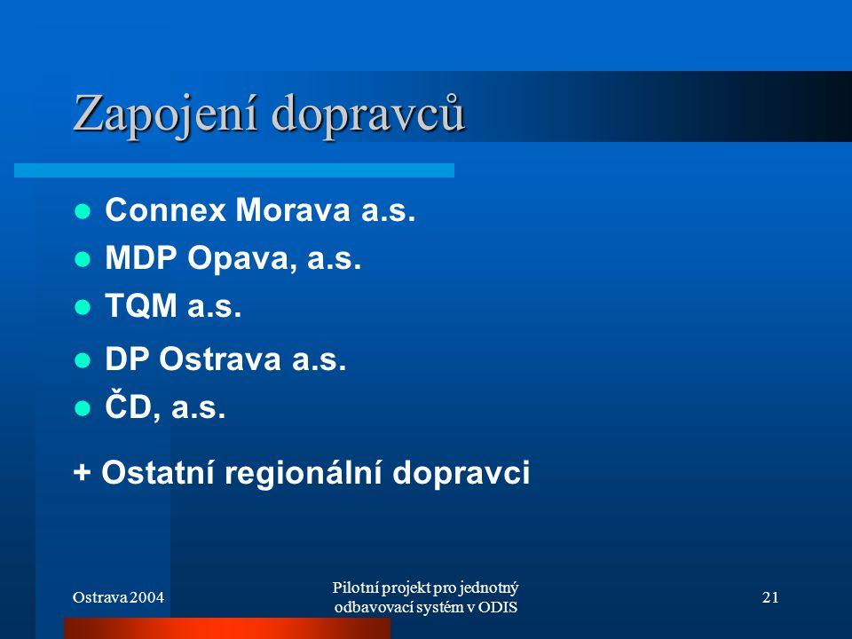 Ostrava 2004 Pilotní projekt pro jednotný odbavovací systém v ODIS 21 Zapojení dopravců DP Ostrava a.s. ČD, a.s. + Ostatní regionální dopravci Connex