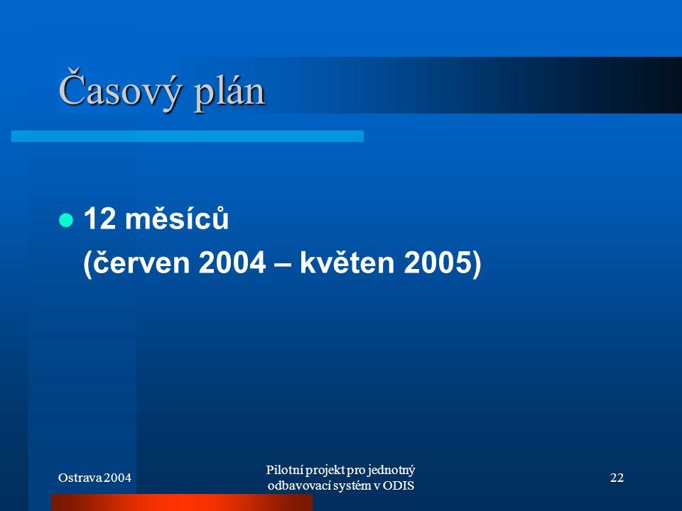 Ostrava 2004 Pilotní projekt pro jednotný odbavovací systém v ODIS 22 Časový plán 12 měsíců (červen 2004 – květen 2005)