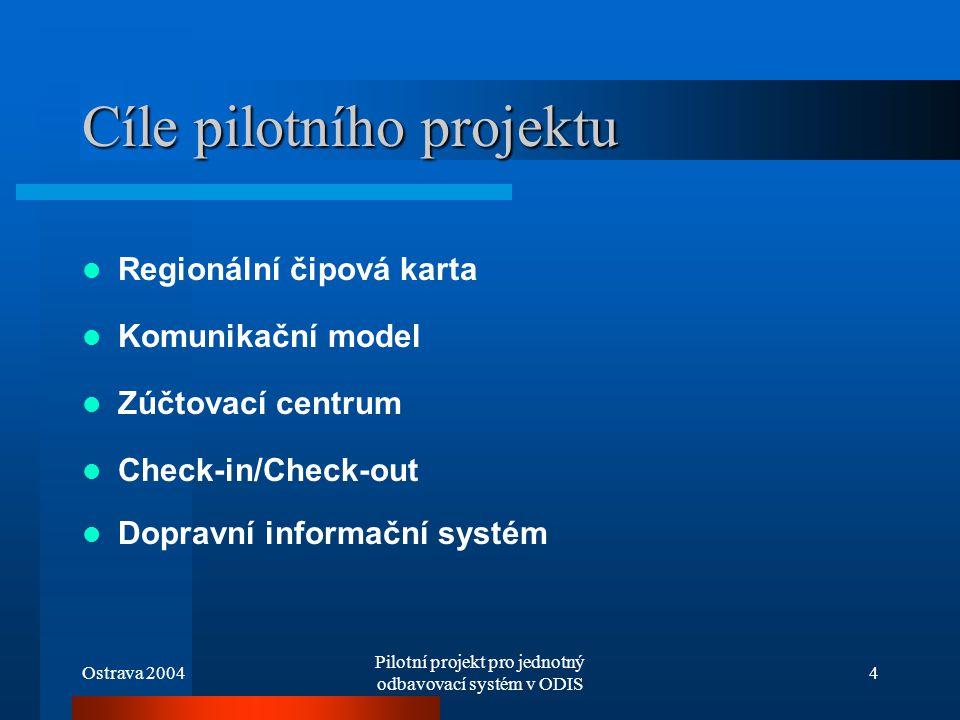 Ostrava 2004 Pilotní projekt pro jednotný odbavovací systém v ODIS 4 Cíle pilotního projektu Regionální čipová karta Komunikační model Zúčtovací centr