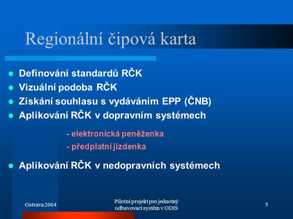 Ostrava 2004 Pilotní projekt pro jednotný odbavovací systém v ODIS 5 Regionální čipová karta Definování standardů RČK Vizuální podoba RČK Získání souh