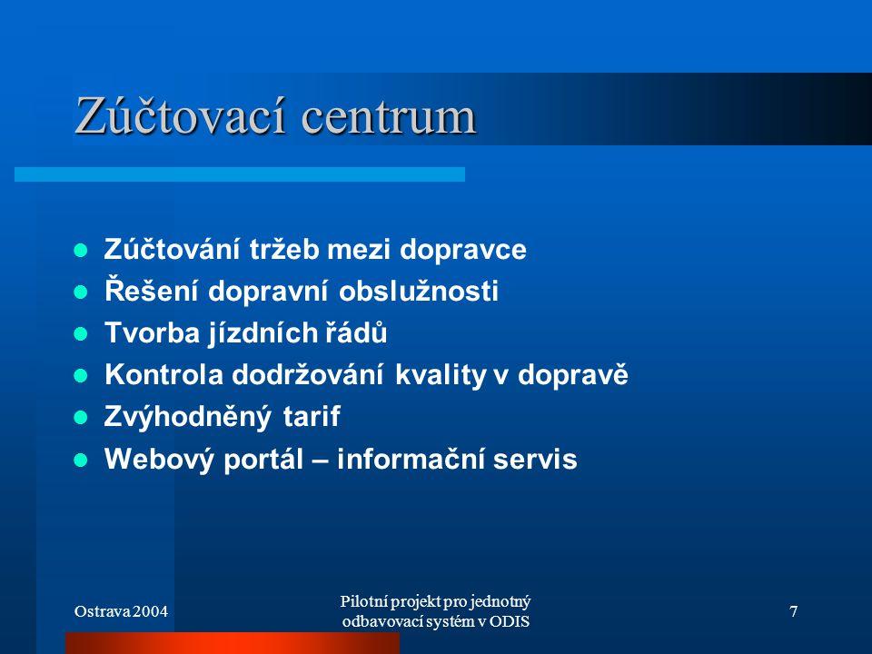 Ostrava 2004 Pilotní projekt pro jednotný odbavovací systém v ODIS 7 Zúčtovací centrum Zúčtování tržeb mezi dopravce Řešení dopravní obslužnosti Tvorb