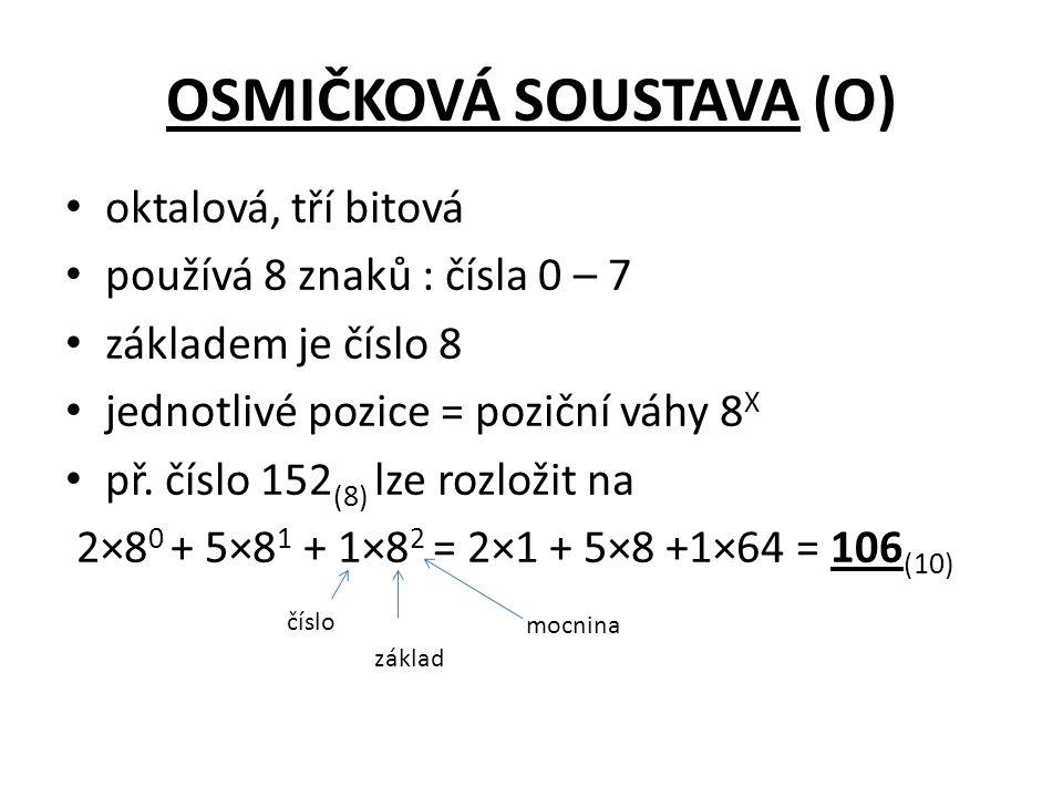 OSMIČKOVÁ SOUSTAVA (O) oktalová, tří bitová používá 8 znaků : čísla 0 – 7 základem je číslo 8 jednotlivé pozice = poziční váhy 8 X př.