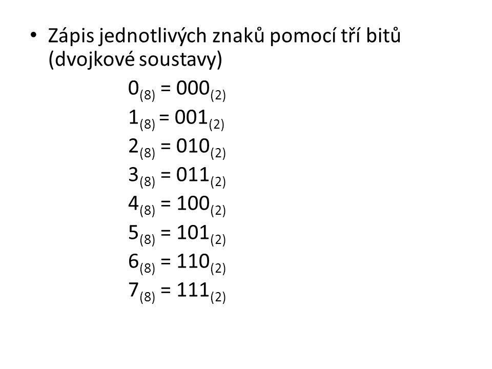 Zápis jednotlivých znaků pomocí tří bitů (dvojkové soustavy) 0 (8) = 000 (2) 1 (8) = 001 (2) 2 (8) = 010 (2) 3 (8) = 011 (2) 4 (8) = 100 (2) 5 (8) = 101 (2) 6 (8) = 110 (2) 7 (8) = 111 (2)